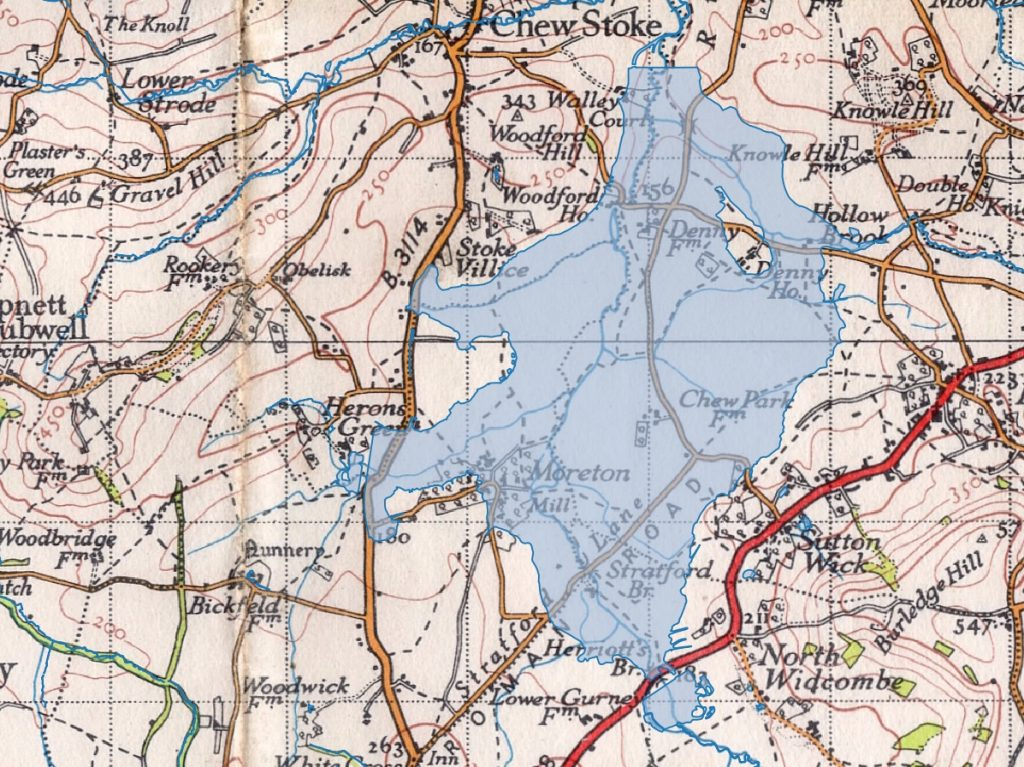 The Chew Valley Lake Area in 1946, with modern lake super imposed